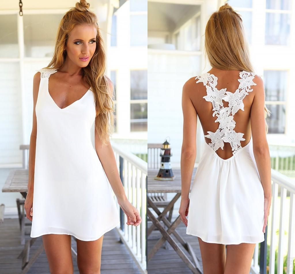 Casual White Beach Dresses - EKOKELLF