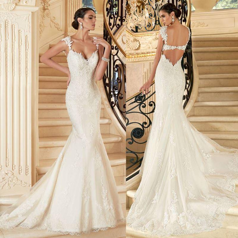 Sweetheart Wedding Dress 2015 Mermaid Tulle Vestido De Noiva Ivory ...