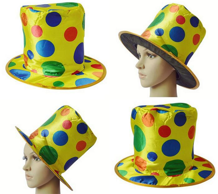 Clown Top Hat Polka Dot Rainbow Circus Magician Cap Costume d'Halloween Fancy Dr
