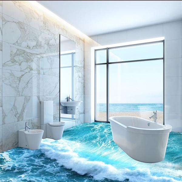 2018 Ocean Waves 3d Bathroom Toilet Bathroom Tile Ocean Floor Tiles Underwater World Club Floor