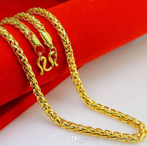 2018 Men S Long 60cm 6mm Crude Gold Necklace Men S 24k