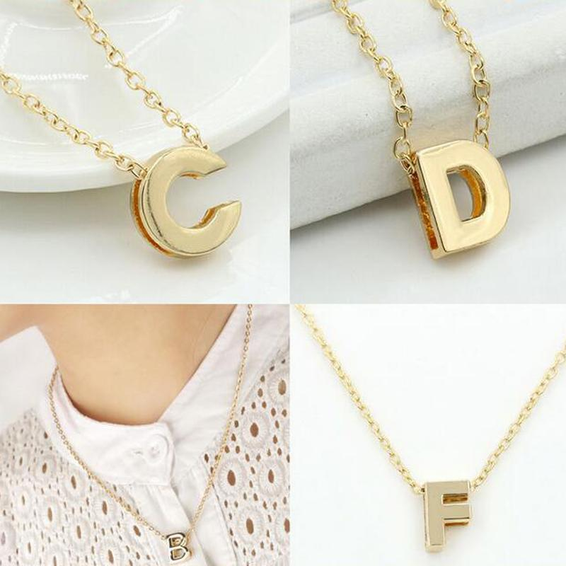 diy name initial letter necklace gold plated 26 letters pendant chain necklace fashion jewelry free shipping