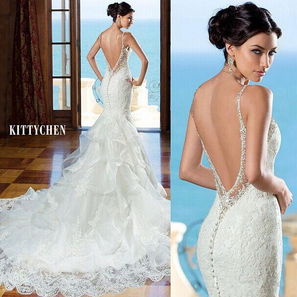 2016 sexy backless lace mermaid wedding dresses spaghetti straps beaded court train tiered ruffles plus size cheap bridal gowns ba0822 2016 wedding dresses
