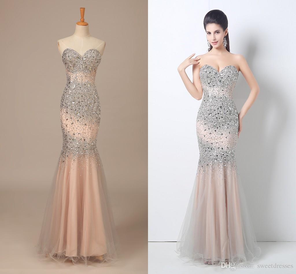 In Stock 2015 Prom Dresses Beaded Sequin Body Sweetheart Mermaid ...