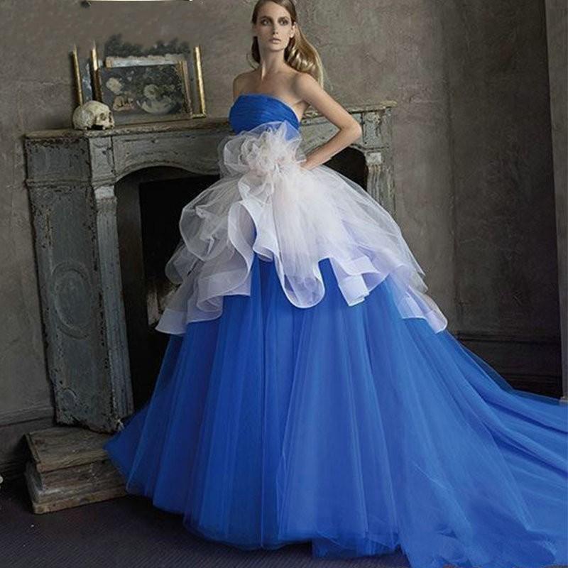 Plus size royal blue bridal dresses gowns with detachable for Royal blue plus size wedding dresses