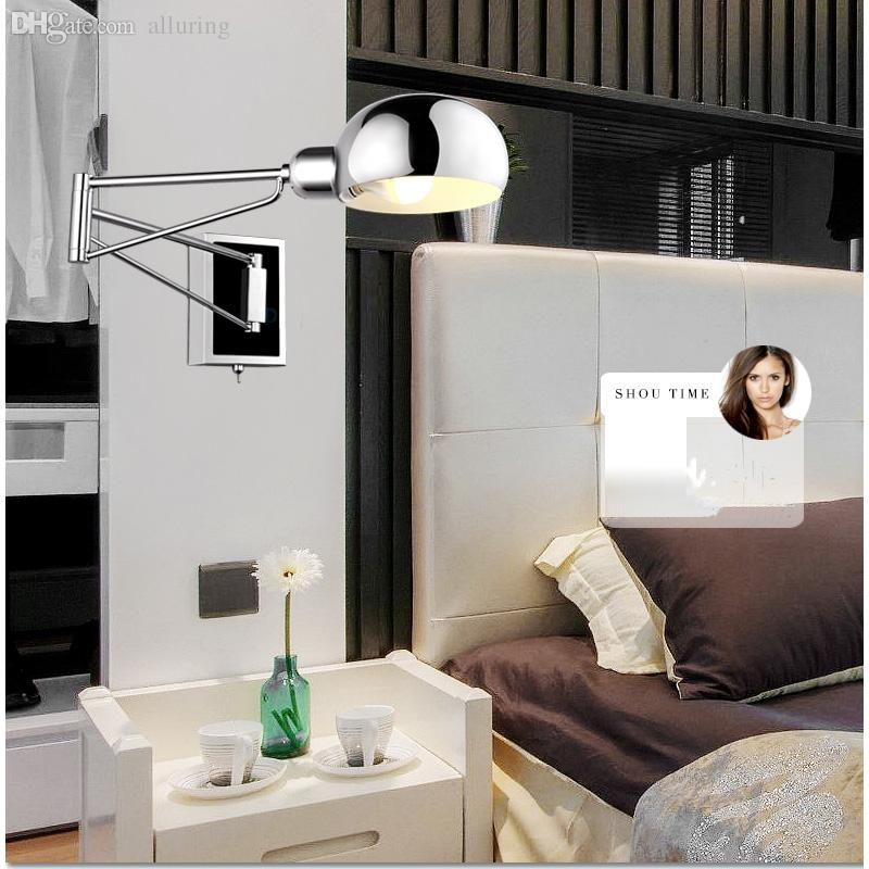 wholesale free shipping bedroom modern wall lamp swing arm wall sconce bedside wall lighting reading