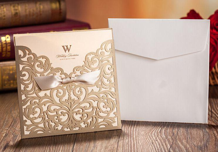 vintage flora flowers golden lacer cut wedding invitations cards,