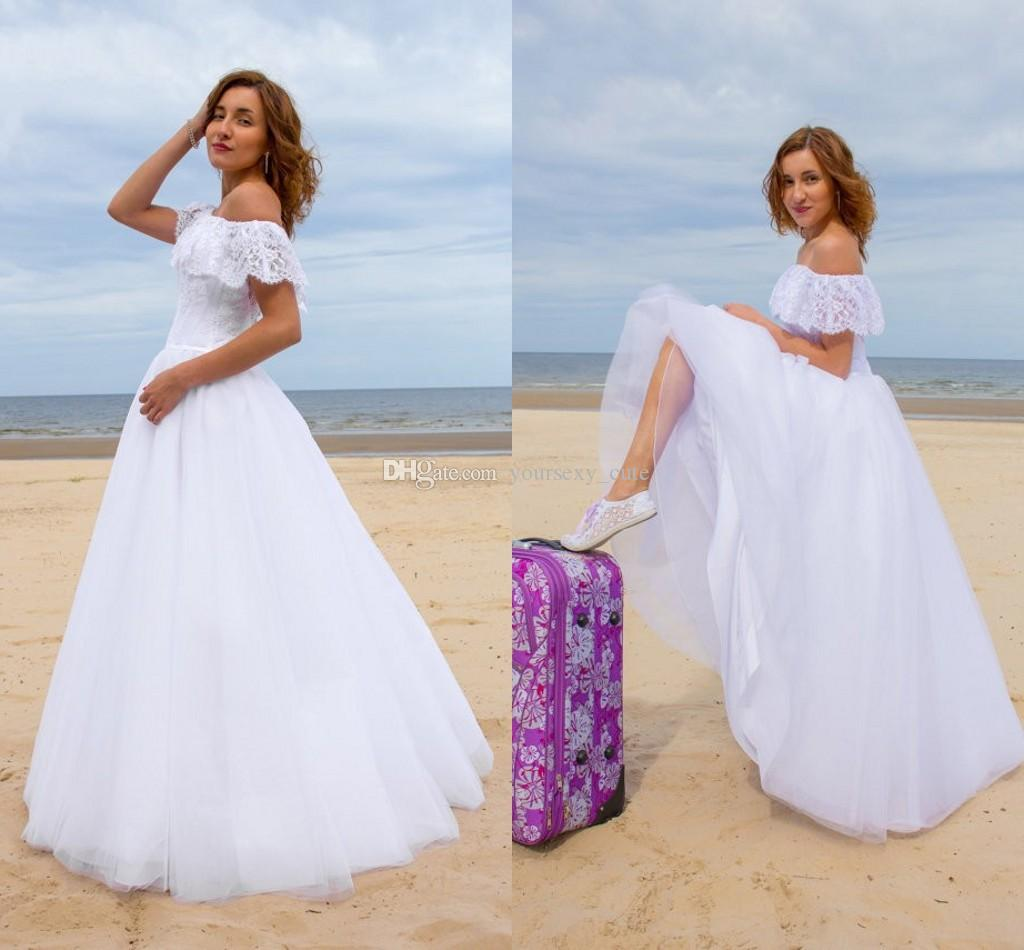 Discount Romantic Beach Wedding Dresses Tulle Lace f The