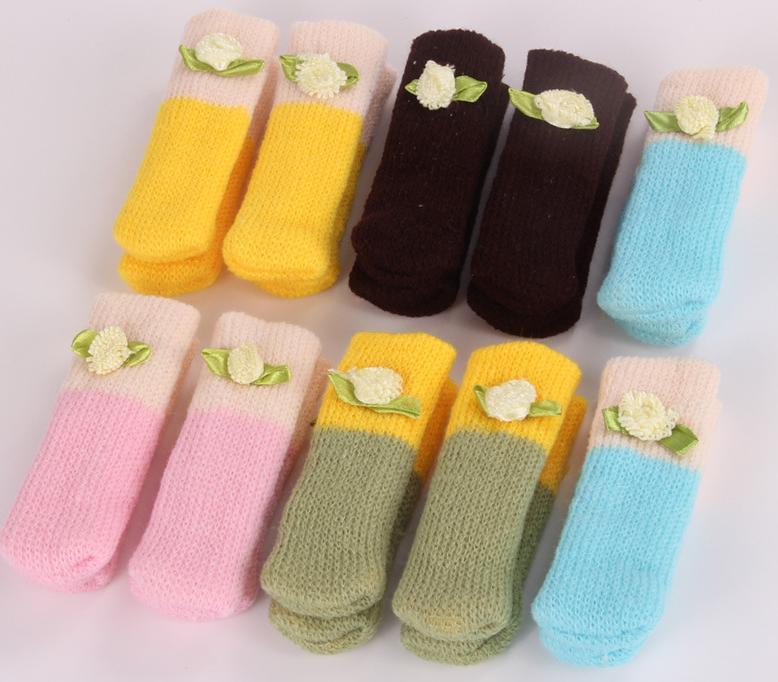 Hot 4x Knit Wool Floor Protector Knit Chair Table Leg Foot Sock Sleeve Cover  6 Style Chair Leg Cover Carpet Protector Protector Floor Online With ...