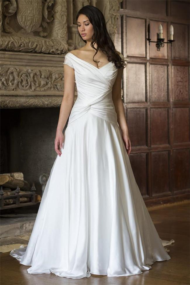 Discount 2015 cheap off the shoulder cap sleeve a line for Cheap wedding dress websites