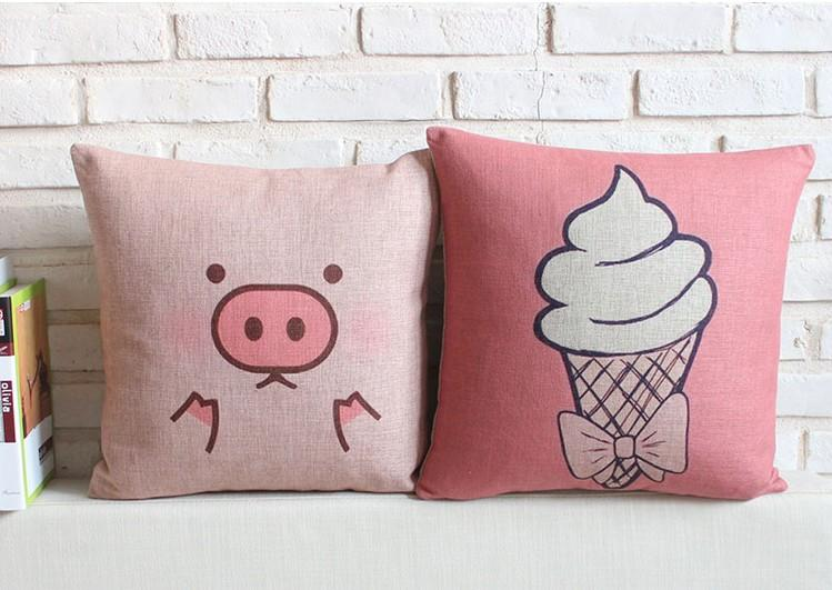 Pink cute pig and ice cream home decor cushion linen cotton pillow ...