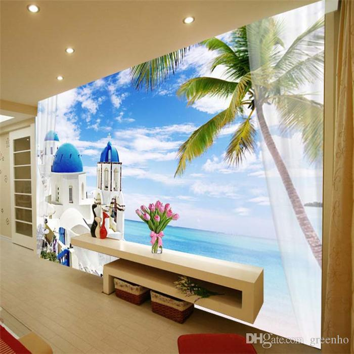 3d view mediterranean scenery photo wallpaper wall mural for 3d wallpaper for office wall