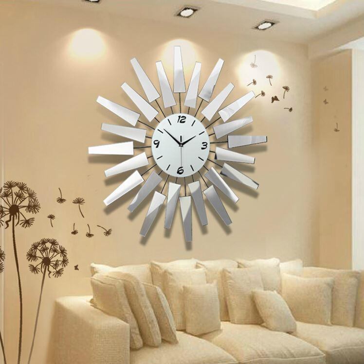 Wall Clock Designs For Home : Luxury metal watch large living room big creative wall