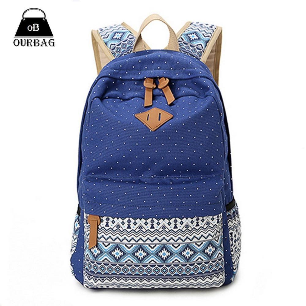 New Casual Backpack Student Canvas Girls Schoolbag Women Bag ...