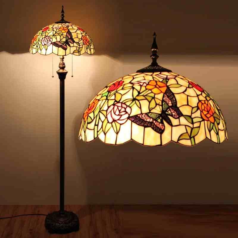 Discount Elegant Butterful Stands Light Stained Glass Rose Butterful Tiffany Floor Lamp Living