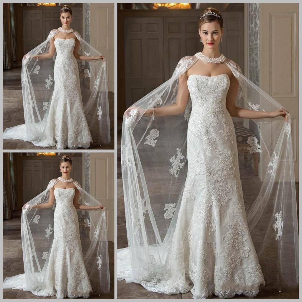2017 hot elegant lace bridal wraps long cape with beads for Wedding dress with cape train