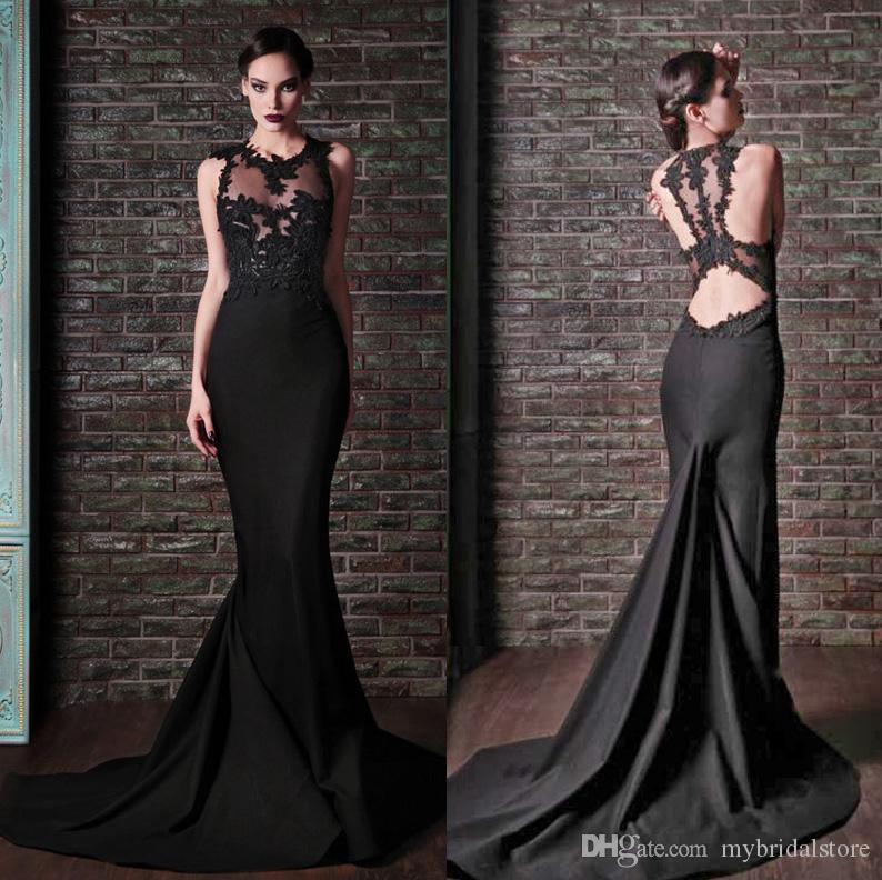 Amazing 2015 rami kadi sexy sheer neck mermaid black lace for Rami kadi wedding dresses prices