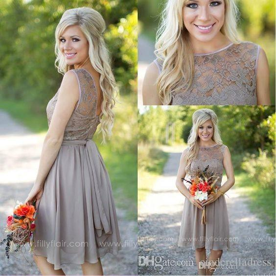 Modern Country Chic Wedding Dress : Tan new country style bridesmaid dresses jewel sheer a line knee