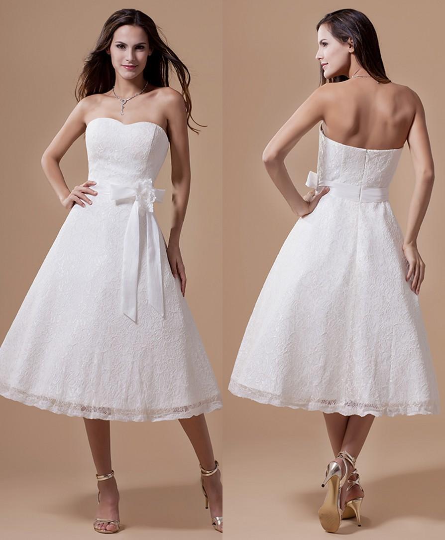 Lace wedding dresses white informal reception dresses second wedding