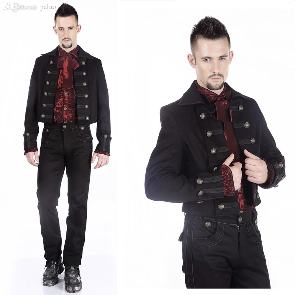 Mens jacket deals - Fall Men S Gothic Steampunk Black Parade Military Marching Band Drummer Jacket Goth Punk Coat Pentagramme Trenchm080018free Shipping Punk Military Jackets