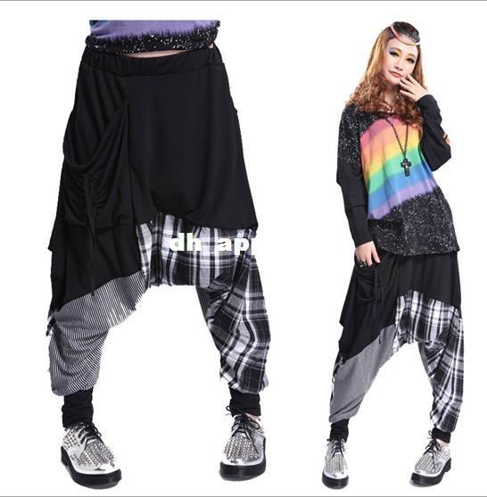 Best Women Baggy Harem Pants Hippie Rope Plaid Hip Hop Dance ...