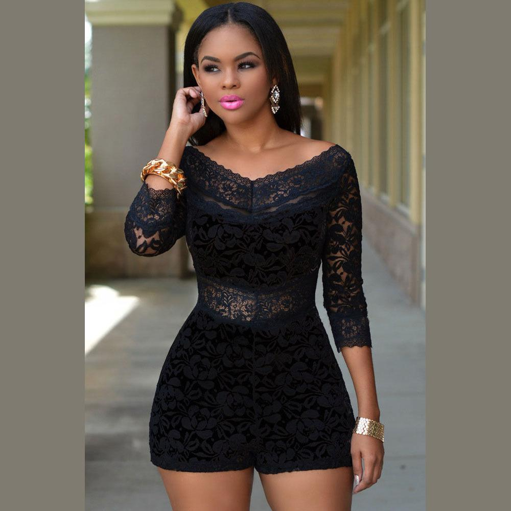 Long Sleeve Short Rompers 2016 Hot Black Off The Shoulder Lace ...