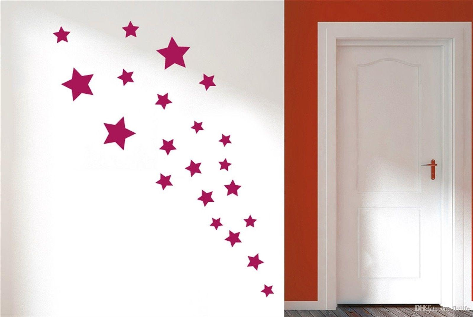 removable various color stars decorative wall stickers vinyl wall art decals for kids rooms home decor wall art stickers decorative wall decals kids room - Decorative Wall Art