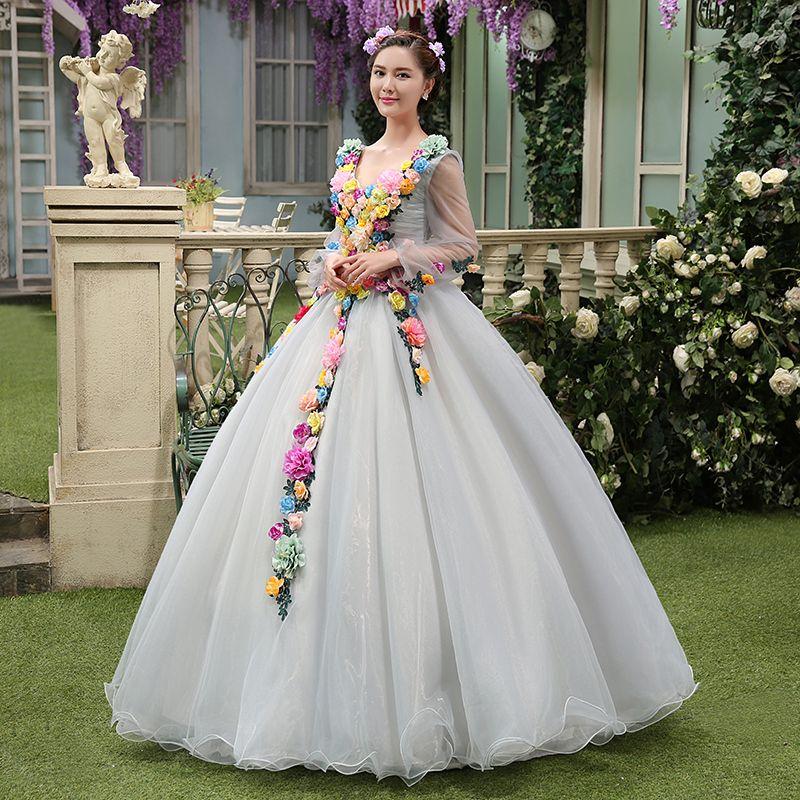 Luxury Light Grey Full Silke Flowers Ball Gown Sissi Princess ...