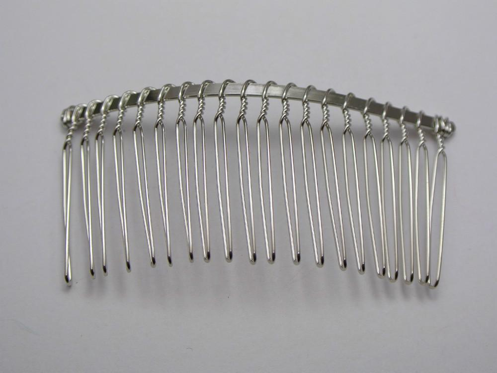 Discount 10 silver tone metal hair side combs clips for Metal hair combs for crafts