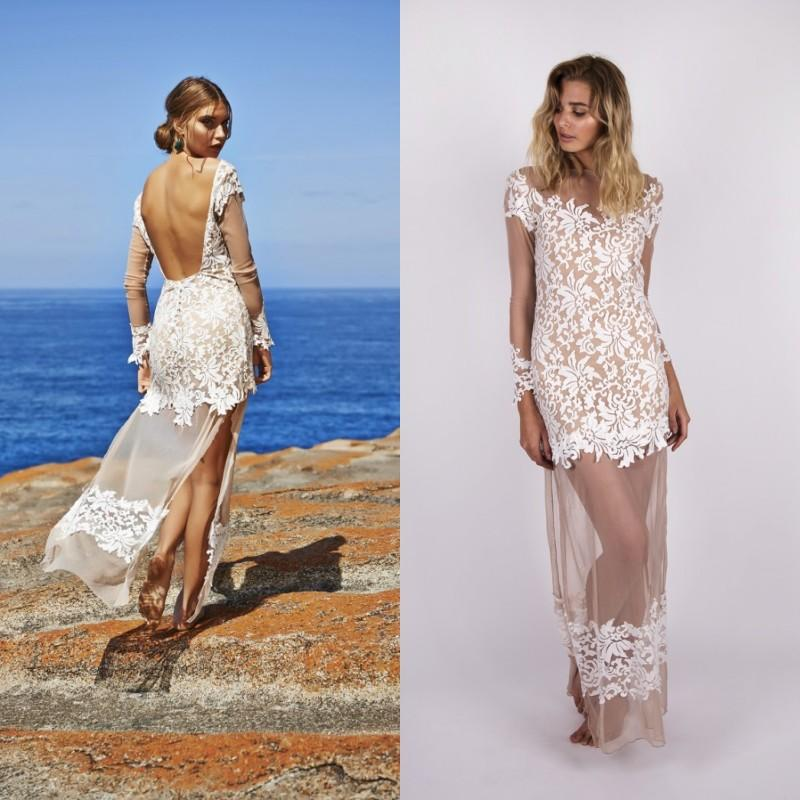 2015 Sexy High Quality Summer Beach Wedding Dresses Sheer Long ...