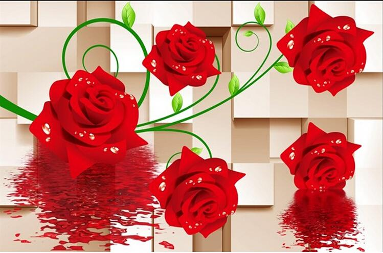 New can customized large 3d big mural art wallpaper wall for 3d rose wallpaper for bedroom