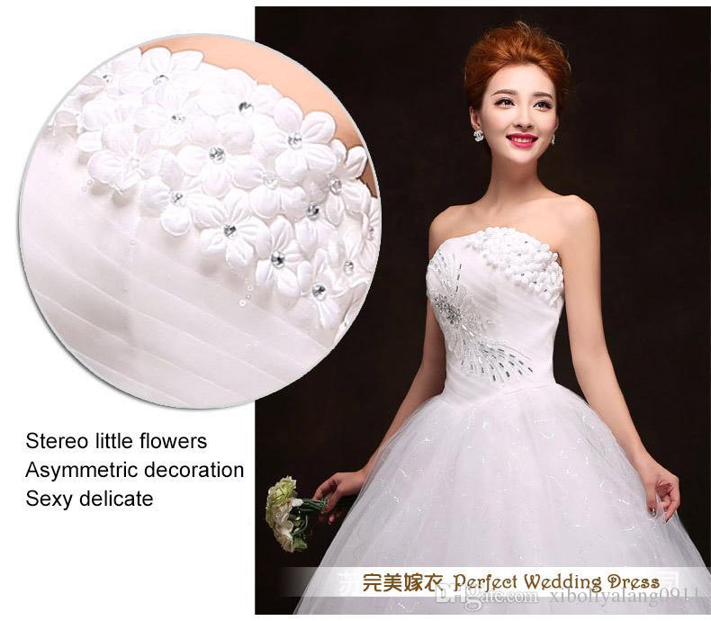 Оптом - Дешевые Бесплатная доставка новый 2015 белый принцессы модно кружева свадебное платье романтической тюль свадебные платья элитные сексуальные платья