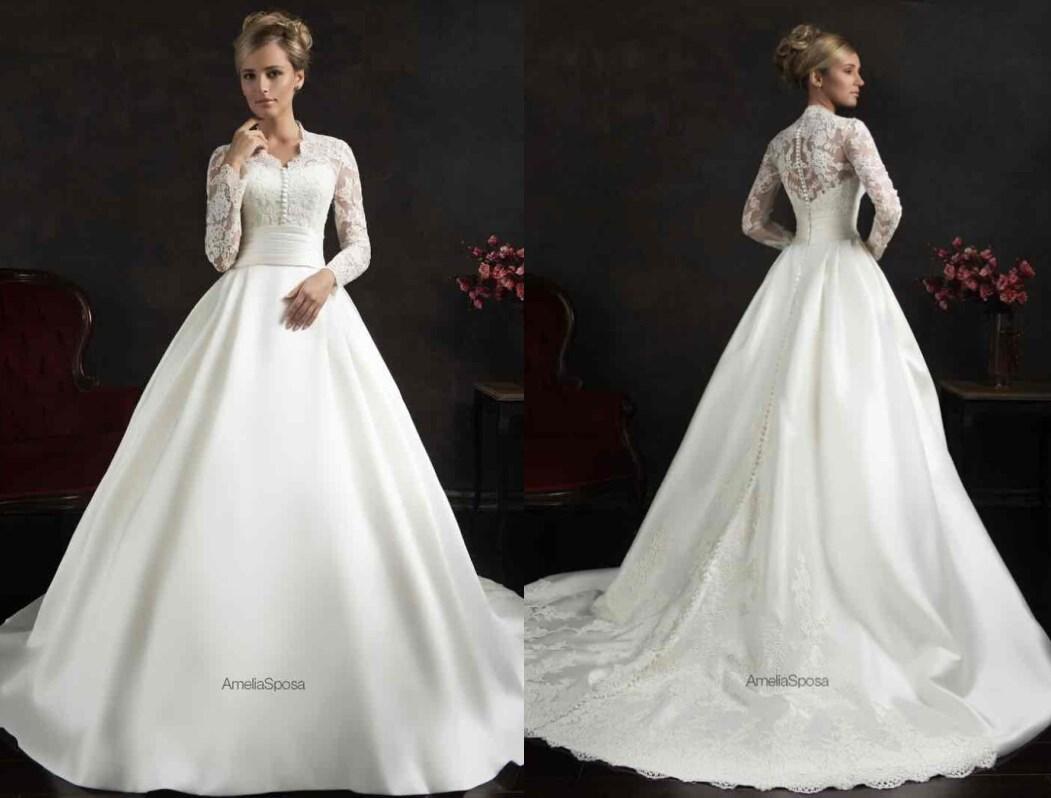 Modest 2015 Muslim Wedding Dresses Long Sleeves Lace