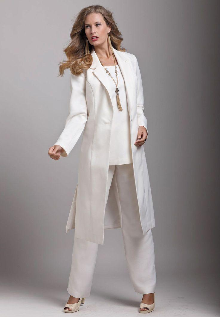 Custom made bridal wedding mother of the pant suits white for Wedding dress pant suits