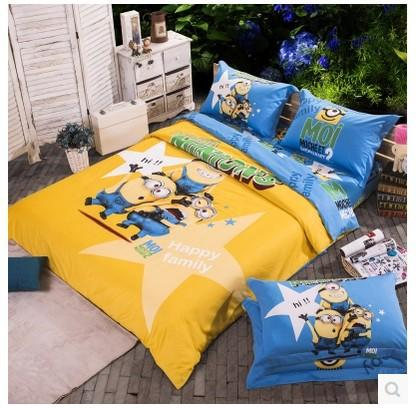 Vente en gros happy famille minion lit literie fixe reine for Housse requirements