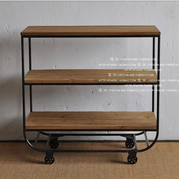 Vintage solid wood furniture, wrought iron racks ingenuity Cabinet  sideboard spacer frame kitchen shelf storage rack storage rac