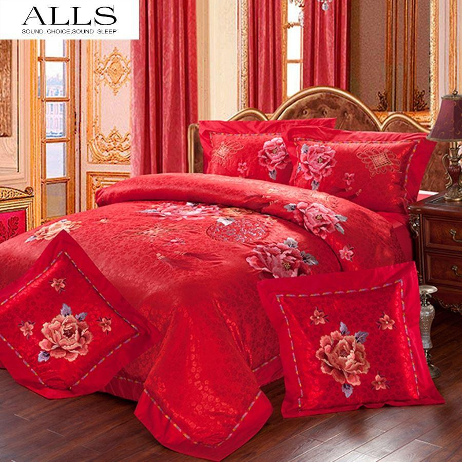Wedding bed sheet set - Chinese Wedding Bedding Set Luxury 4pcs 6pcs Silk Cotton Bed Cover Bed Sheet With