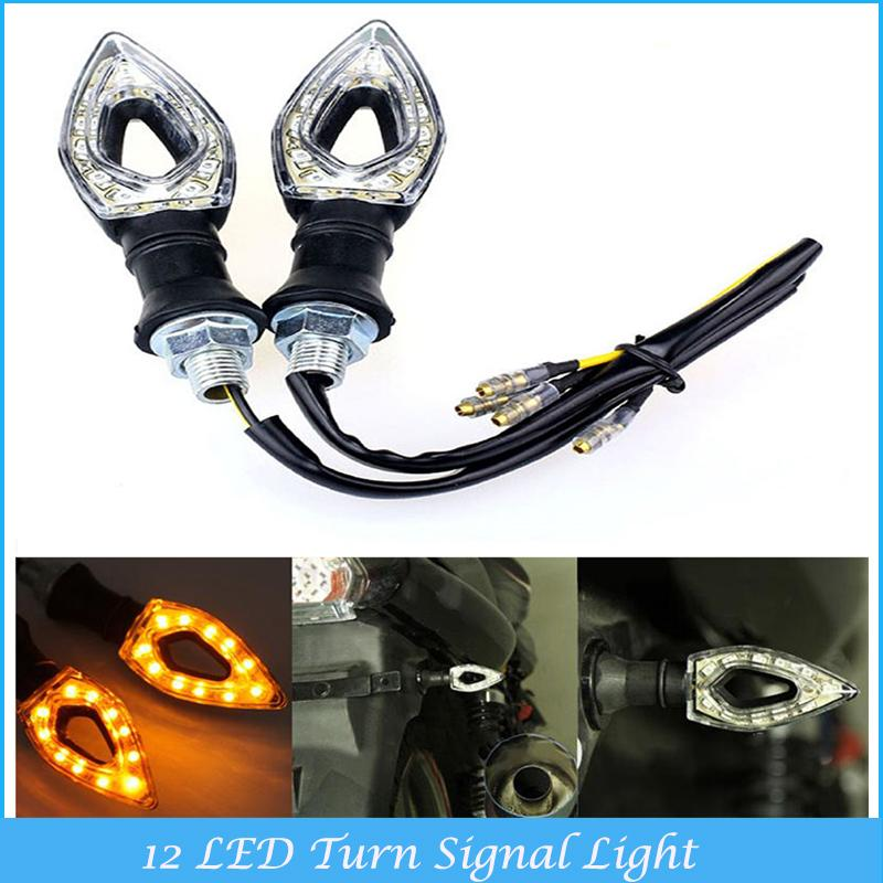 Hot Sale 2x Universal Motorcycle Waterproof 12 LED Turn Signal Light With Amber Turn Signal Lights C4