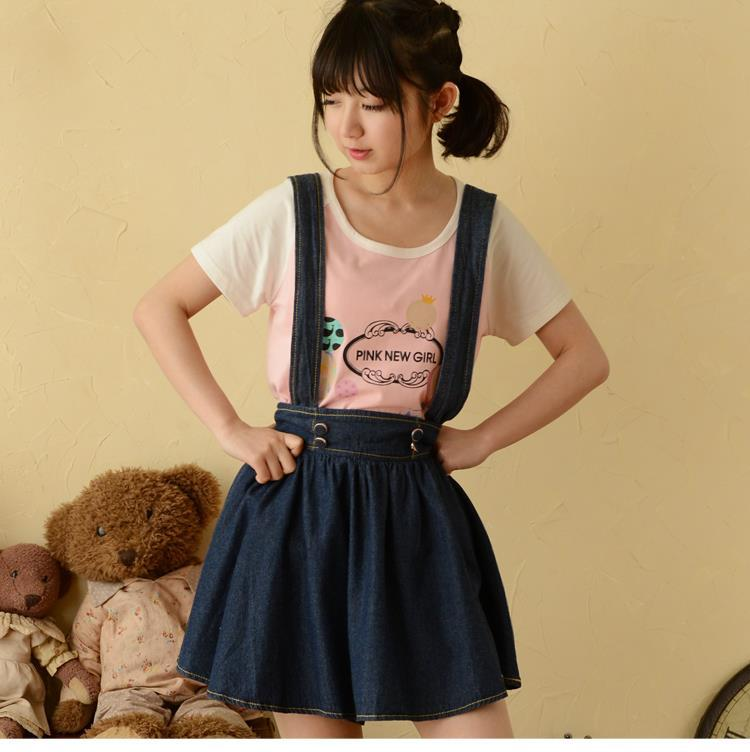Mori Girl Japanese Spaghetti Strap Skirts Solid Above Knee Denim Casual Fashion Sweet Style 2015