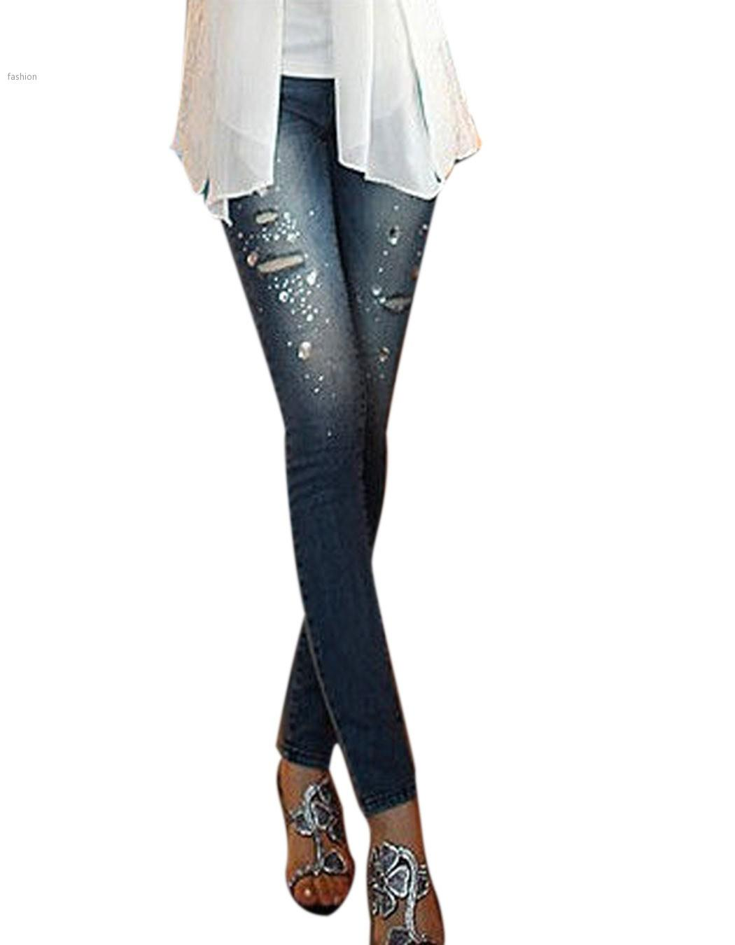Fashion Womens Skinny Jeans for Women Ripped Jeans Midi Waist ...