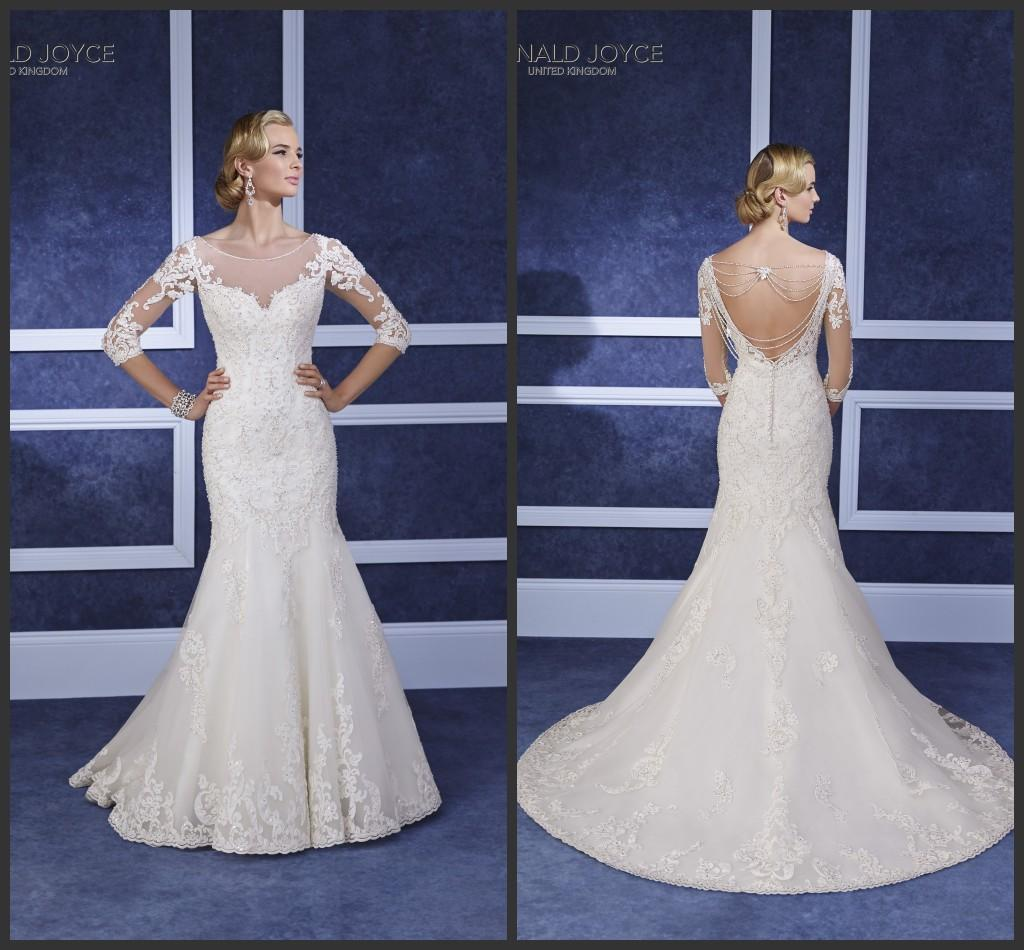 2016 Mermaid Wedding Dresses Ronald Joyce Sheer Scoop