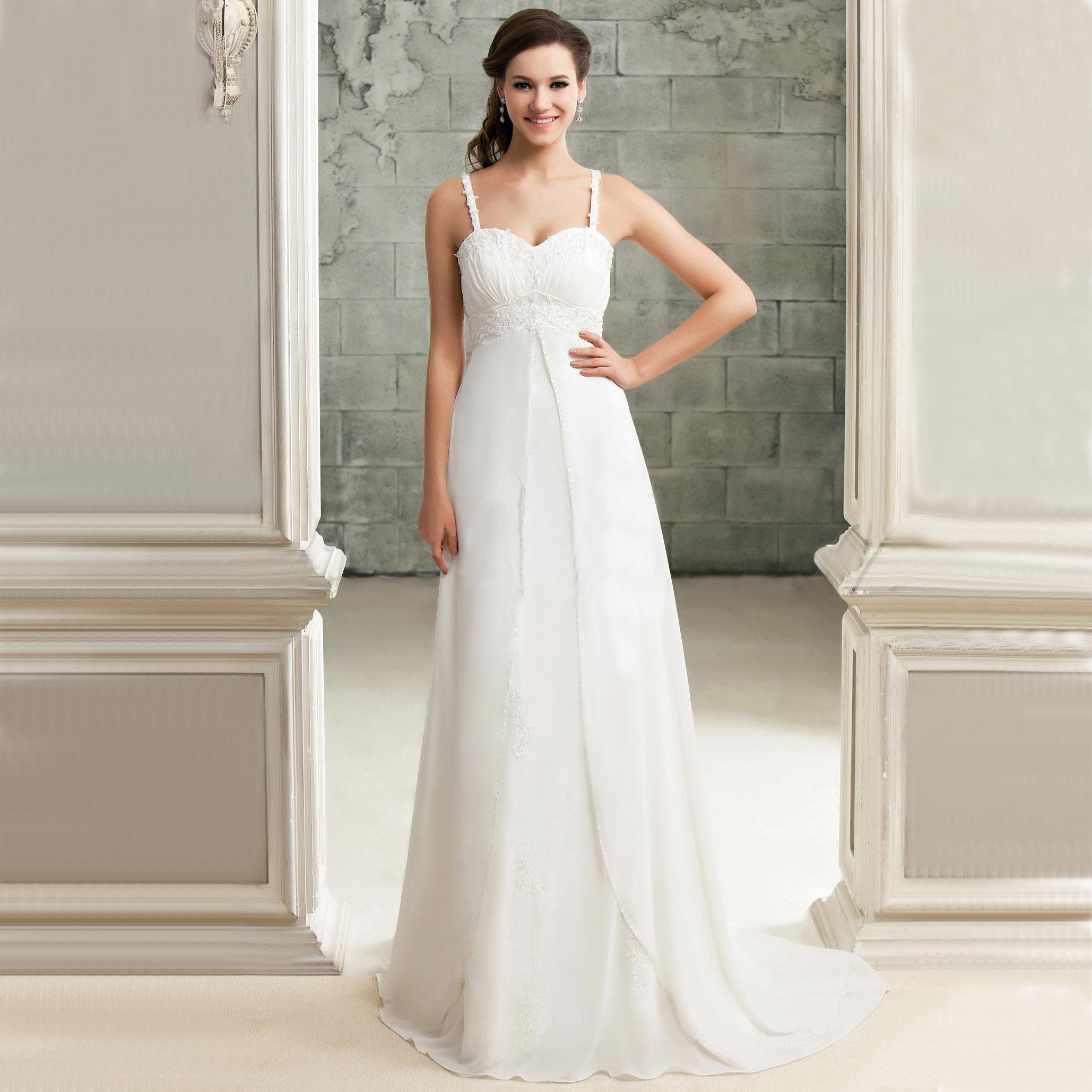 2015 Wedding Dresses Cheap Spaghetti Straps Sweetheart Split Front A Line Beaded Lace Plus Size