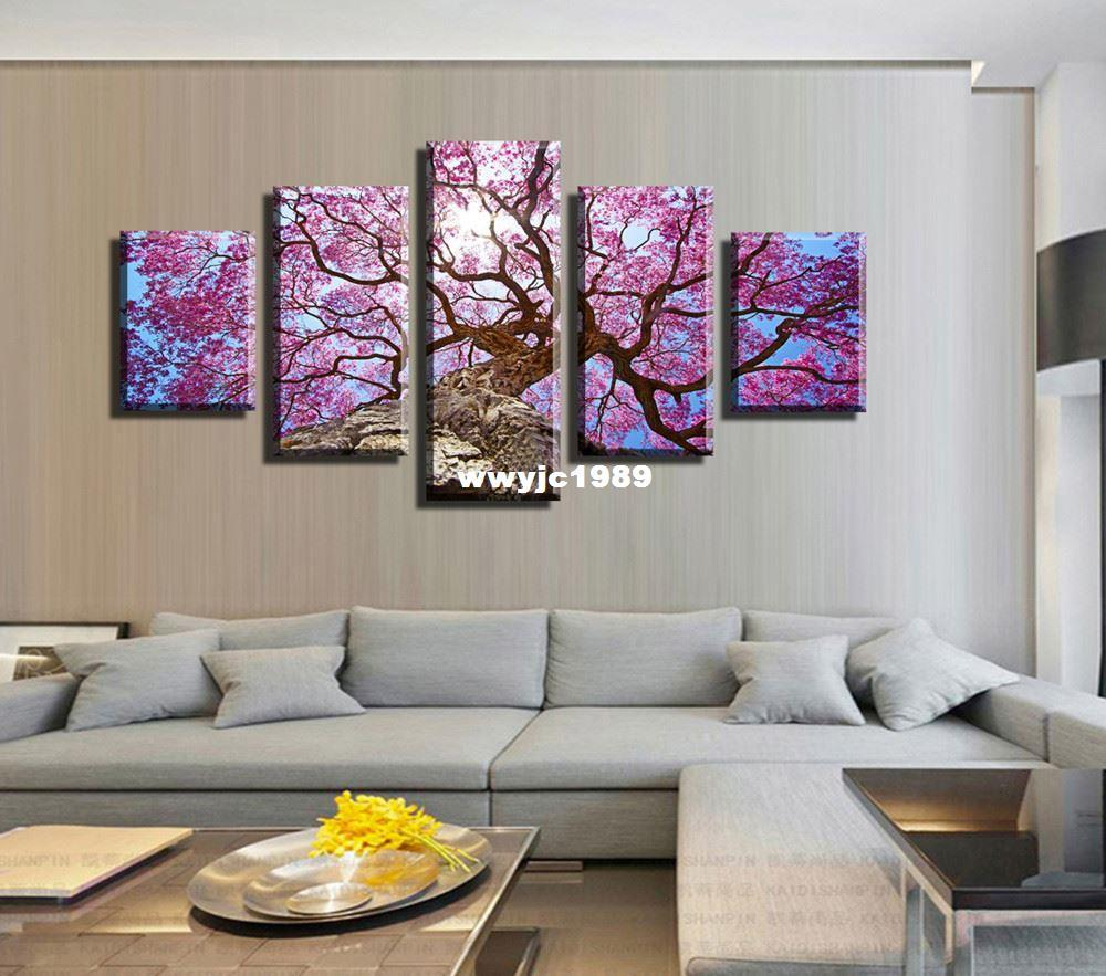 2017 5 panel hot sell pink flower modern home wall decor for Decor 2 sell