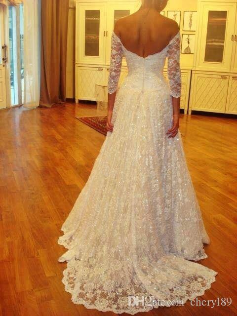 Discount 2015 a line fully beaded sequin wedding dresses for Fully beaded wedding dresses
