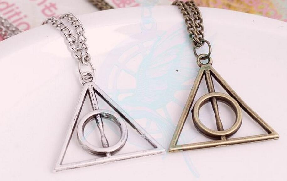 harry potter necklaces luna deathly hallows triangle