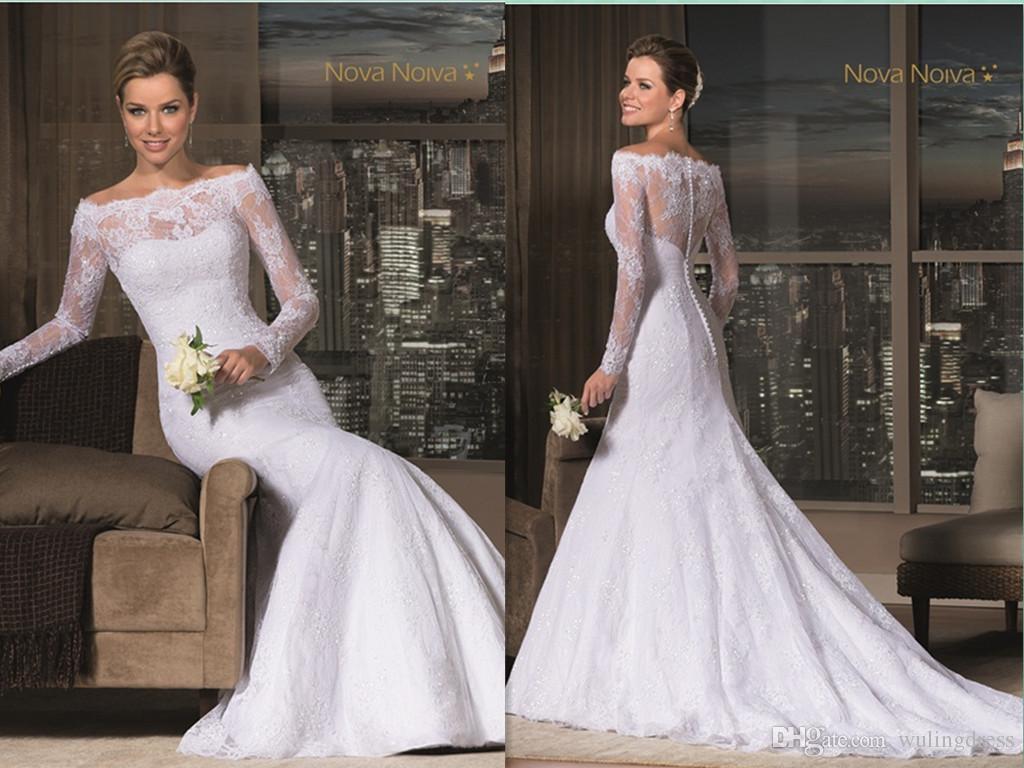 High end custom 2016 mermaid lace wedding dresses bateau for High end wedding dress