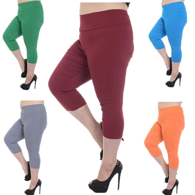 2017 Women Plus Size Capri Pants Stylish Cropped Trousers Candy ...