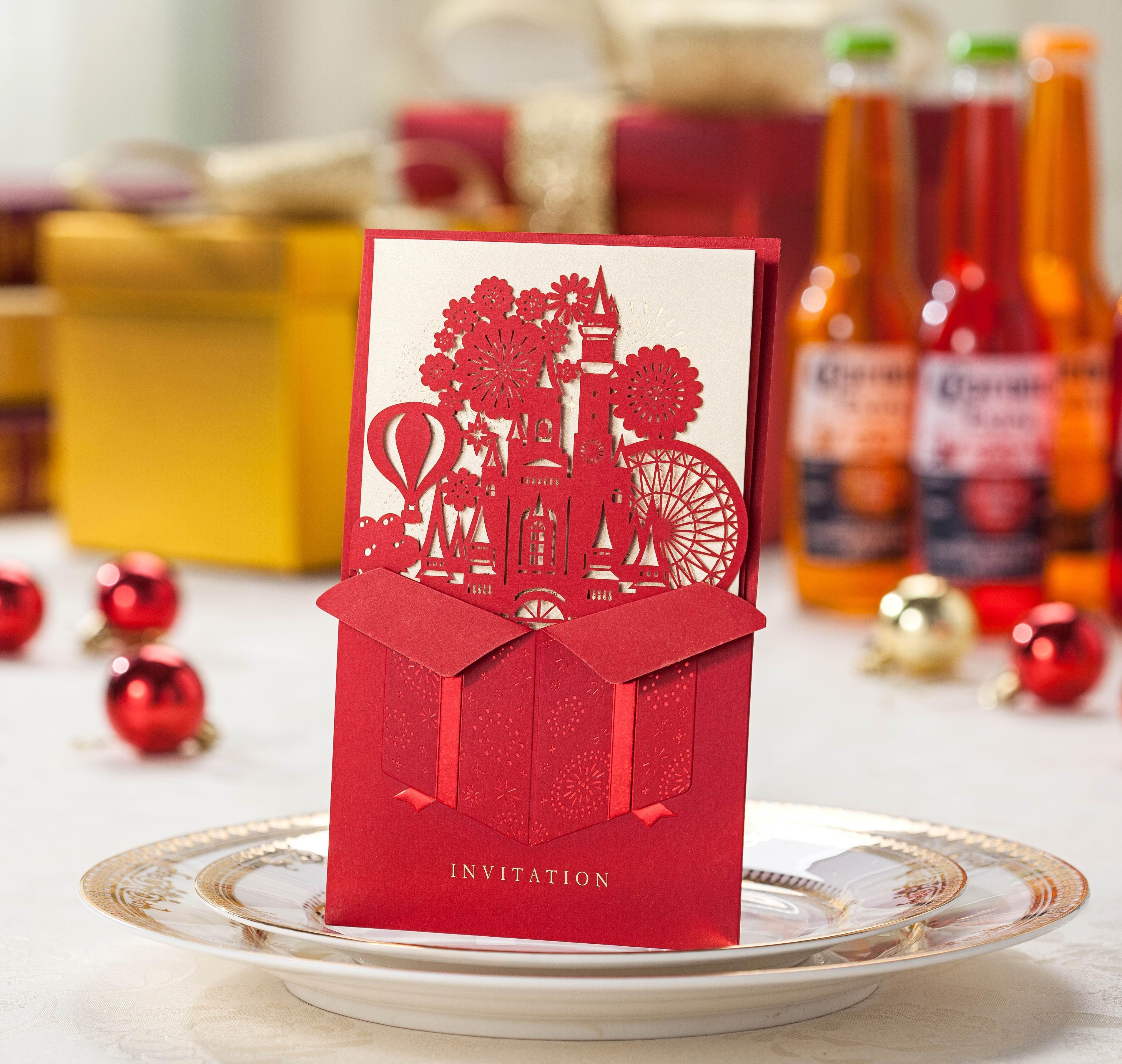 Color cards free - Wedding Invitations Cards Hollow Love Castle Red Color Free On Wedding Invitations Red Color