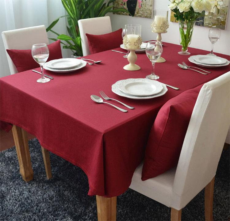 Red High Quality Cotton Table Cloths Restaurant Dining Table Coffee Table Linen Christmas