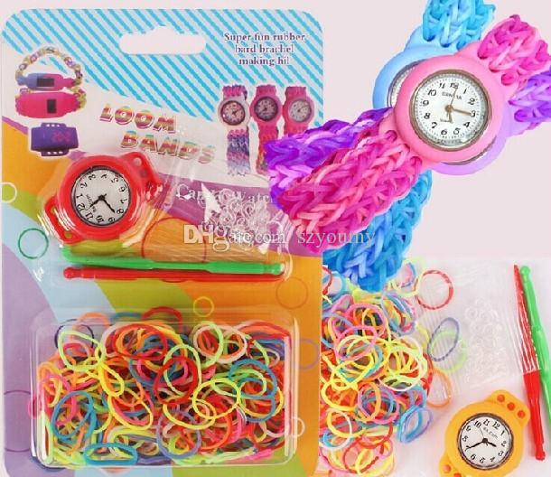 2014 NEW DIY Knitting Braided loom Watch Rainbows Kit Rubber Bands Self-made Silicone Bracelet (Watch+Rubber+Clip+Hook) children WATCHES